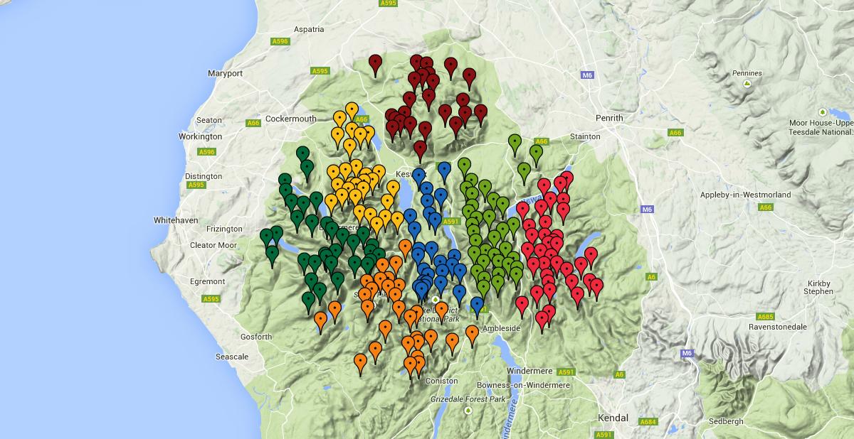 Google map of the Wainwright Fells